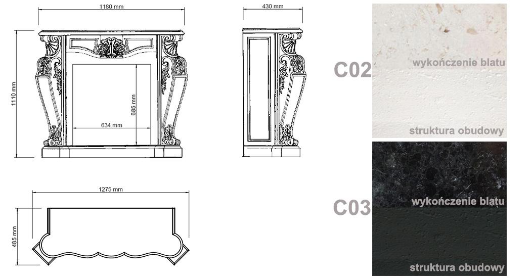 biokominek portalowy LOUIS biały