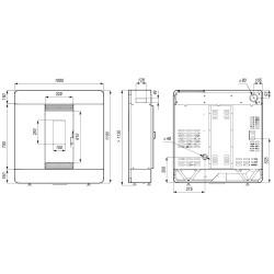 Piecyk na pelet Cristal Air 8,5 kW  - bordowa blacha - Cadel - darmowa wysyłka