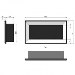 kratka 17x50 czarno srebrna