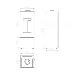 Biokominek 900x400 biały z szybą