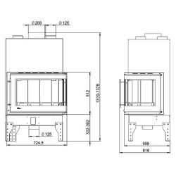 uniflam 760 EVO PBS gięta prawa boczna szyba ref. 260-172-GS