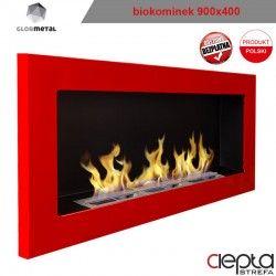 900x400 czerwony - biokominek wiszący
