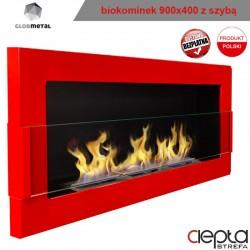 900x400 czerwony z szybą - biokominek wiszący