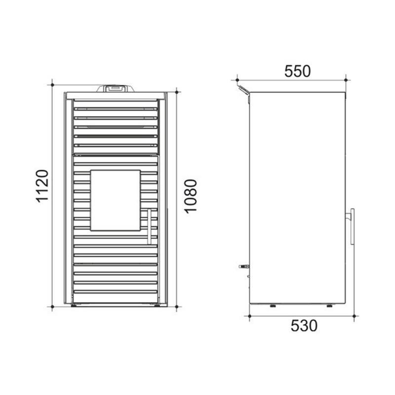 Kratka kominkowa OTWARTA 60x6cm grafit