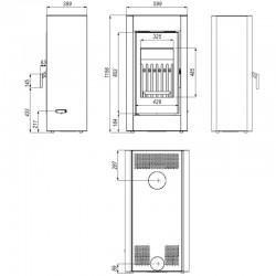 Kratka kominkowa LUFT narożna prawa 60x40x6cm biała