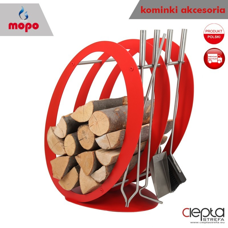 Stojak kosz na drewno SA001R czerwony z akcesoriami