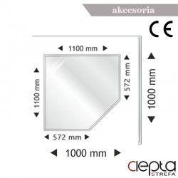 Podstawa szklana pięciokątna-narożna 1100x1100x6mm