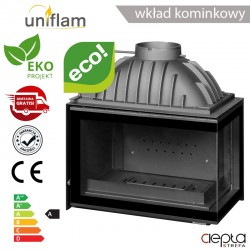 Wkład kominkowy UNIFLAM 700 PLUS ECO prawa boczna szyba, szyber ref. 6263-72