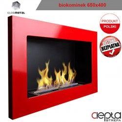 650x400 czerwony - biokominek wiszący