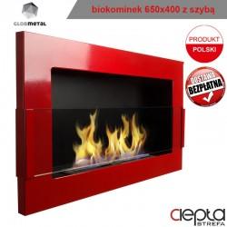biokominek 650x400 czerwony z szybą